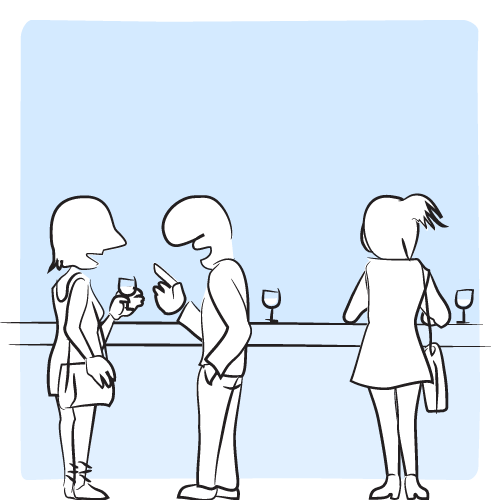 Le type engage la conversation avec la fille à sa gauche.