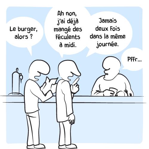 Deux amis en train de consulter le menu : «Le burger, alors? — Ah non j'ai déjà mangé des féculents à midi. Jamais deux fois dans la même journée.» Le barman: «Pffr…»
