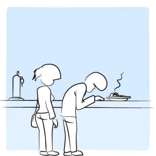 Le plat arrive sur sur le comptoir. L'homme le renifle. Il grimace.
