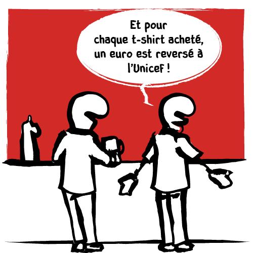 Et s'empresse d'ajouterque pour chaque t-shirt acheté, un euro est reversé à l'Unicef!
