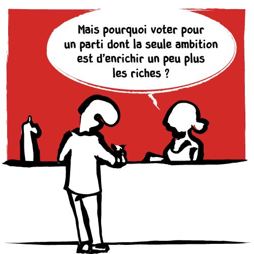 La barmaid lui demande: «Mais pourquoi voter pour un parti dont la seule ambition est d'enrichir un peu plus les riches?»